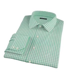 Medium Light Green Gingham Fitted Dress Shirt