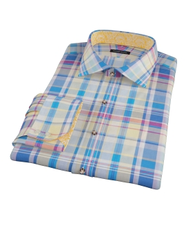 Yellow Blue Red Madras Fitted Shirt