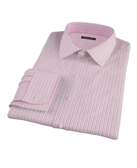 Canclini Red Cotton Linen Stripe Fitted Shirt