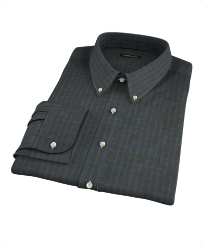 Green Plaid Check Men's Dress Shirt