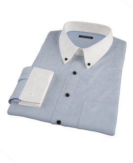 Light Blue Wrinkle Resistant Rich Herringbone Dress Shirt