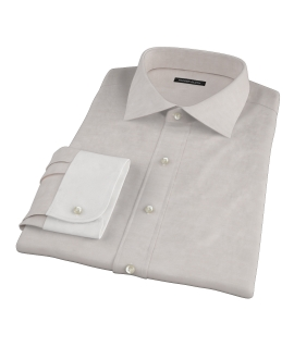 Tan Cotton Linen Oxford Custom Made Shirt