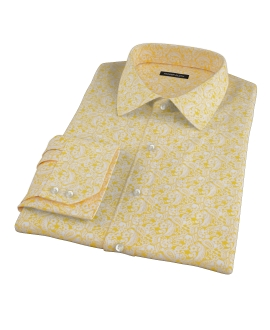 Canclini Orange Yellow Paisley Print Tailor Made Shirt