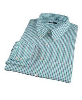 Green and Navy Gingham Custom Made Shirt