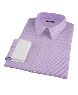 Lavender Carmine Mini Check Fitted Dress Shirt