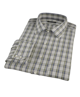 Green and Blue Plaid Fitted Dress Shirt