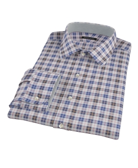 Vincent White Navy Red Plaid Custom Dress Shirt