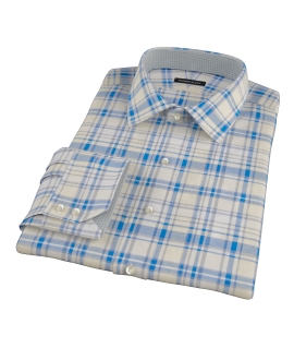 Yellow and Blue Organic Madras Fitted Dress Shirt