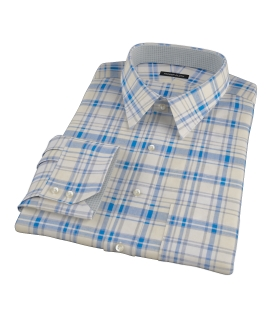 Yellow and Blue Organic Madras Tailor Made Shirt