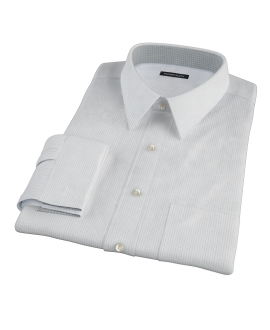 140s Light Blue Wrinkle Resistant Fine Grid Custom Dress Shirt
