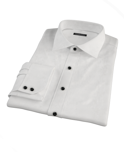 White 140s Broadcloth Men's Dress Shirt