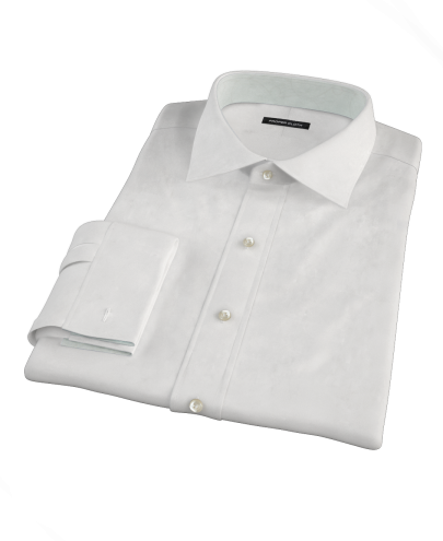 Albini White Broadcloth Custom Dress Shirt 