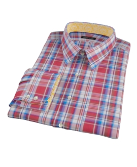 Canclini Red White Blue Plaid Fitted Dress Shirt