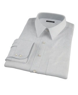 Lavender and Black Fine Satin Stripe Fitted Dress Shirt