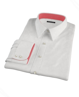 Natural White Cotton Linen Fitted Shirt