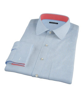 Light Blue Carmine Mini Check Custom Made Shirt