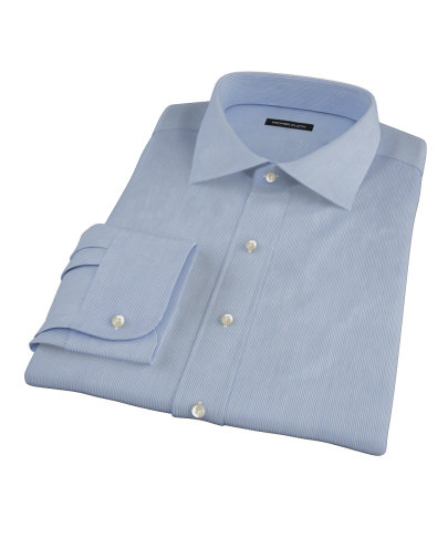 Albini Blue Fine Stripe Men's Dress Shirt 