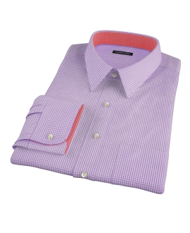 Lavender Carmine Mini Check Fitted Shirt