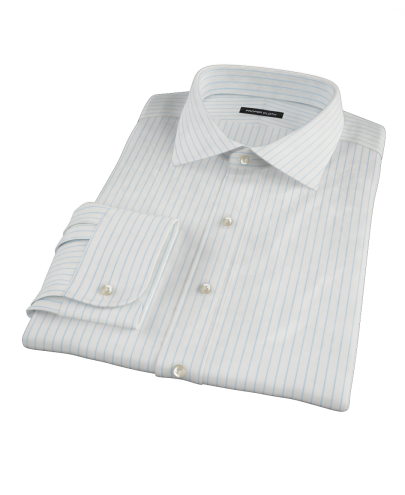 Light Blue Stripe Twill Fitted Dress Shirt