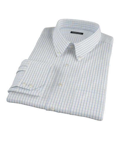 Blue Windowpane Twill Men's Dress Shirt