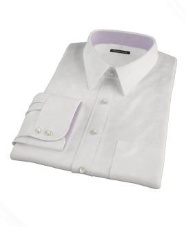 Natural White Cotton Linen Men's Dress Shirt