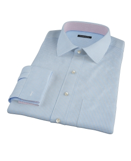 Light Blue Carmine Mini Check Custom Dress Shirt
