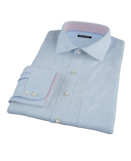 Light Blue Carmine Mini Check Fitted Dress Shirt