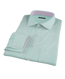 Mint Green Carmine Mini Check Fitted Dress Shirt