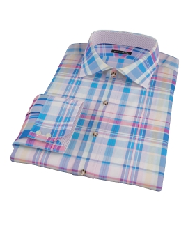 Pink Blue Red Madras Dress Shirt