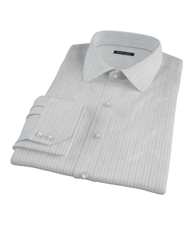 Light Blue Grey Dobby Stripe Men's Dress Shirt