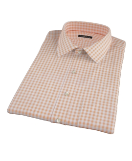Medium Light Orange Gingham Short Sleeve Shirt