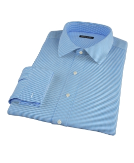 160s Wrinkle-Resistant Blue Micro Gingham Fitted Dress Shirt