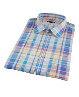 Yellow Blue Red Madras Short Sleeve Shirt