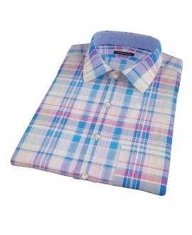Pink Blue Red Madras Short Sleeve Shirt