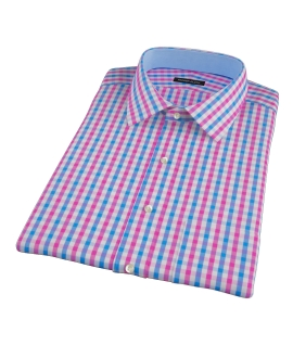 Pink and Blue Gingham Short Sleeve Shirt