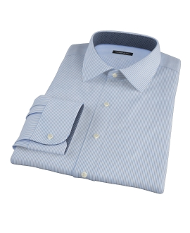 140s Wrinkle Resistant Blue Stripe Custom Dress Shirt