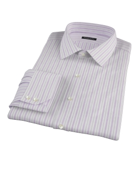 Canclini 120s Lavender Brown Stripe Custom Dress Shirt