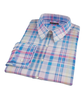 Pink Blue Red Madras Custom Dress Shirt