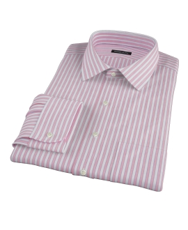 Canclini Red End on End Stripe Fitted Dress Shirt