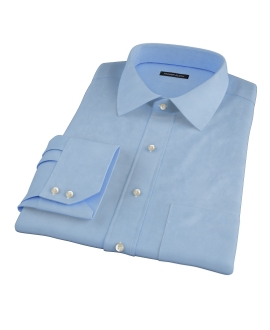 100s Medium Blue Wrinkle Resistant Broadcloth Custom Dress Shirt