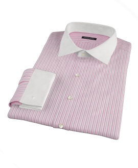 Canclini Red Cotton Linen Stripe Tailor Made Shirt
