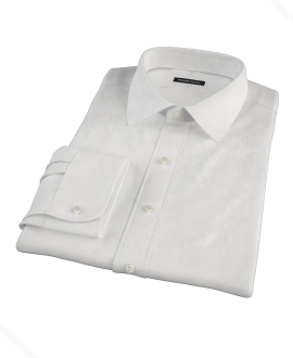 White Wrinkle Resistant Rich Herringbone Fitted Dress Shirt