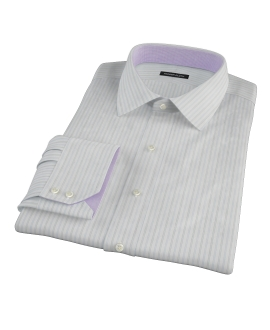 Light Blue Grey Dobby Stripe Dress Shirt