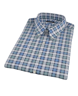 Vincent Green and Blue Plaid Short Sleeve Shirt