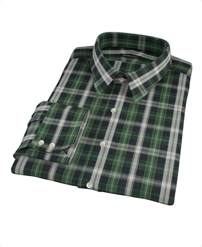 Green Navy Plaid Check Fitted Dress Shirt