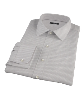 Clove Brown End-on-End Stripe Dress Shirt