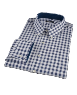 Navy Blue Large Gingham Fitted Shirt