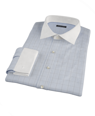 Light Blue and Black Window Grid Fitted Dress Shirt