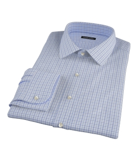 Thomas Mason Blue End on End Check Custom Made Shirt