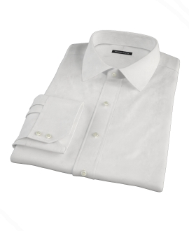 White Cavalry Twill Herringbone Fitted Shirt